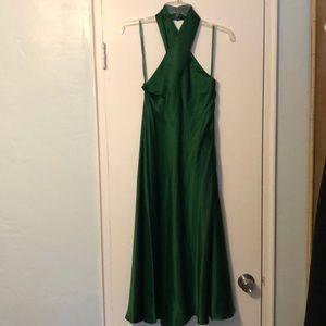 Green satin halter dress